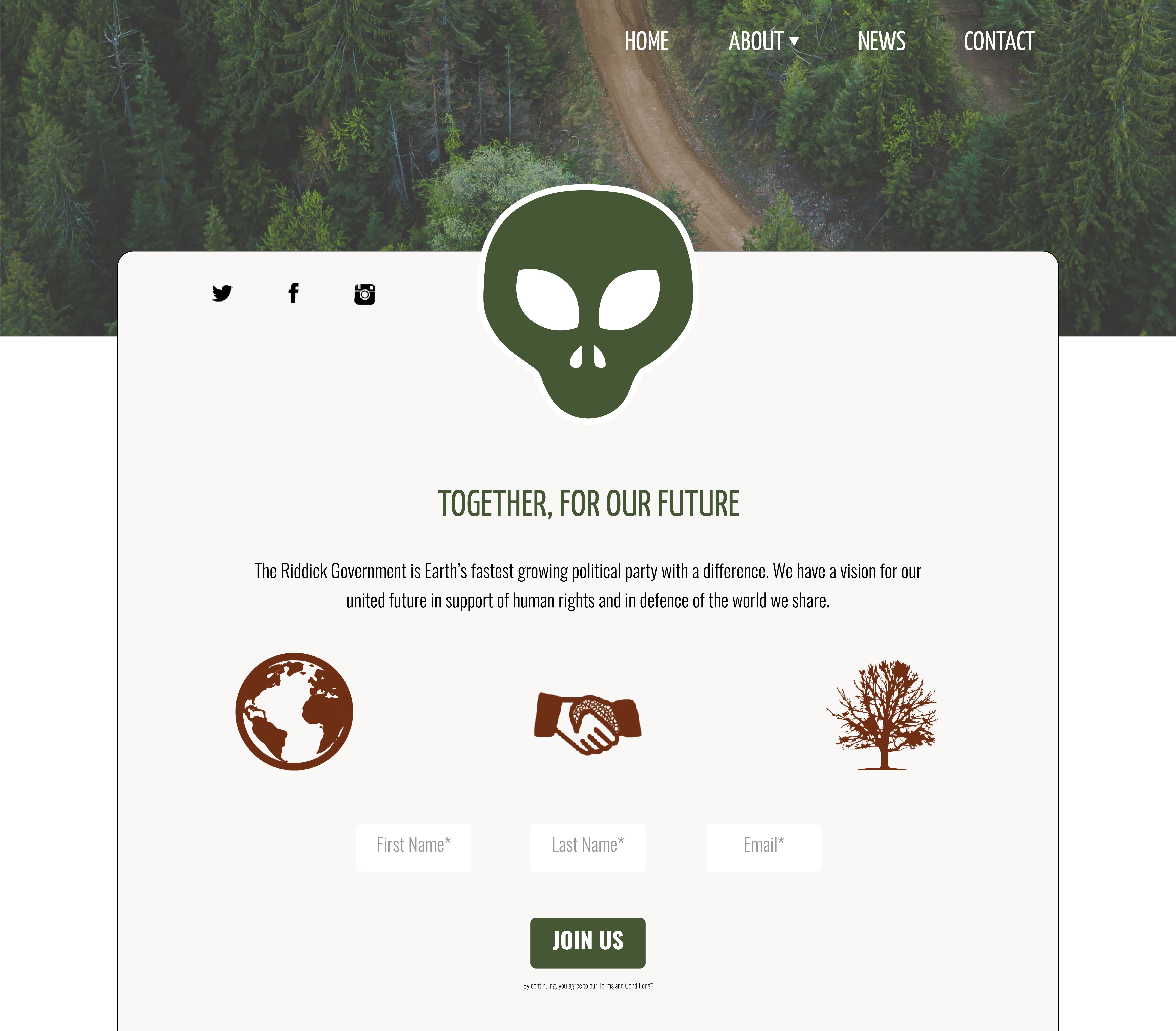 Create a website for the first Martian government