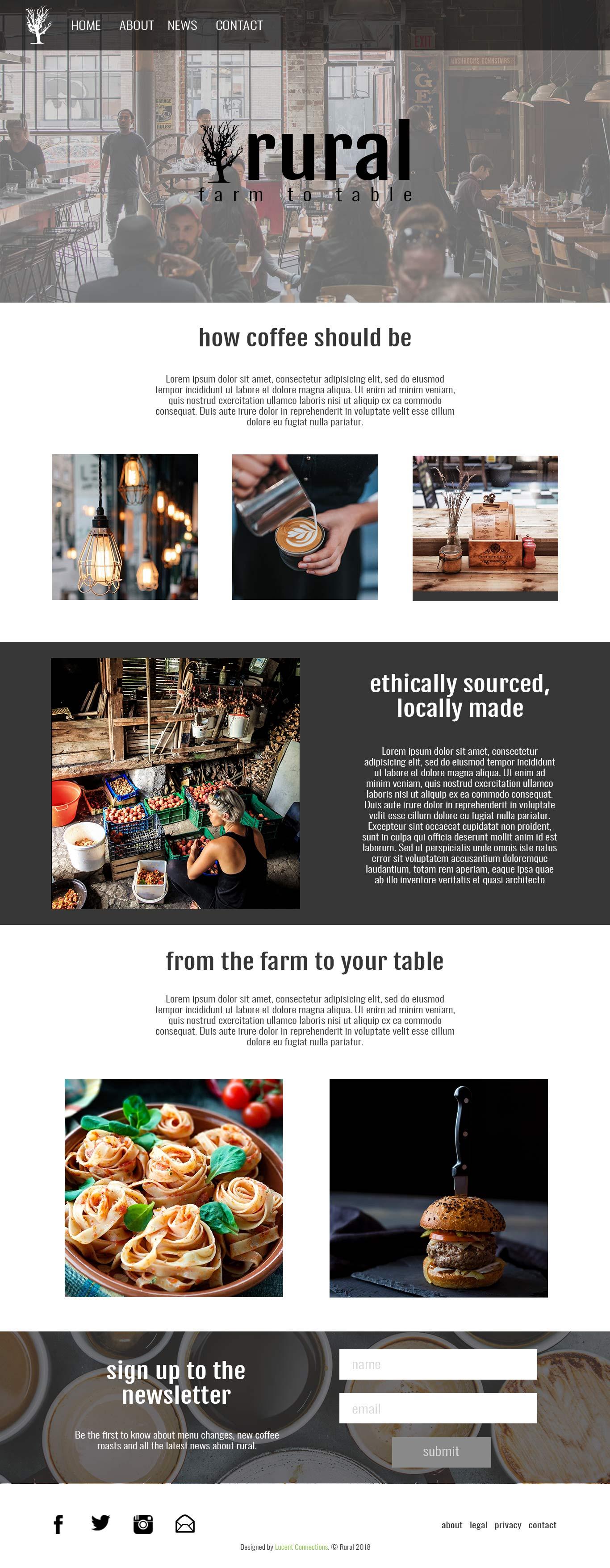 a local cafe website design