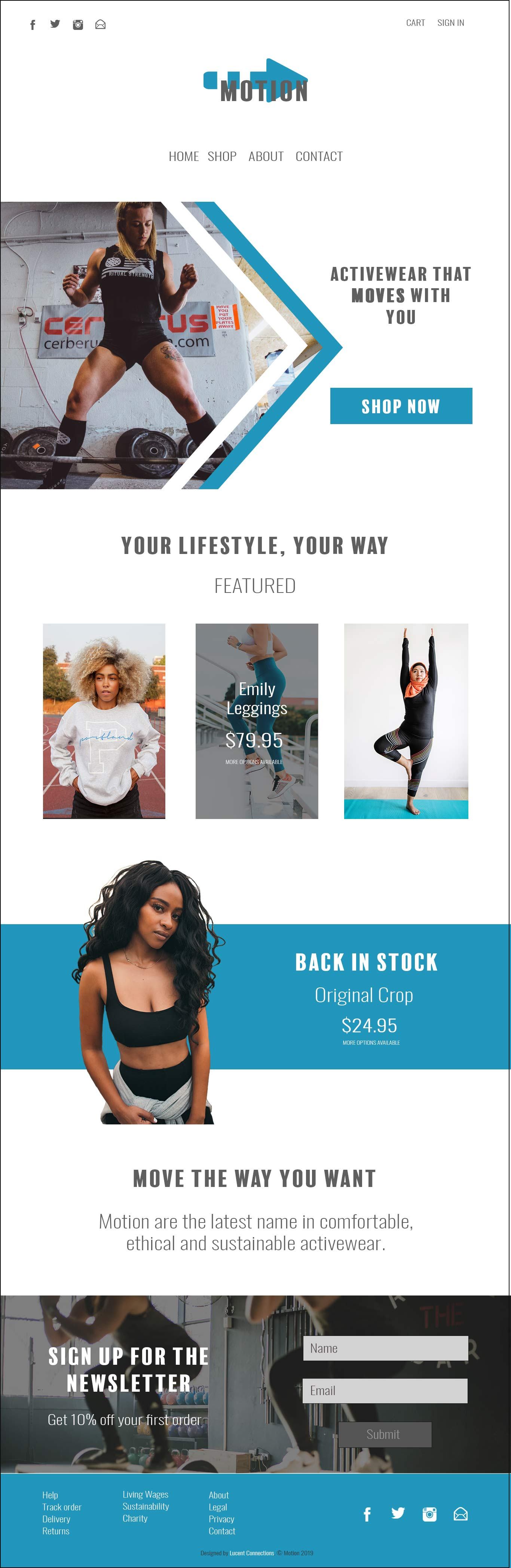 A modern website design for a sustainable activewear company
