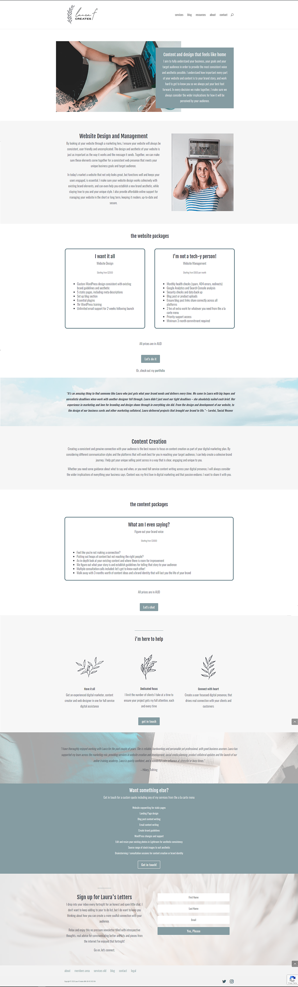 My Services Page Before Redesign