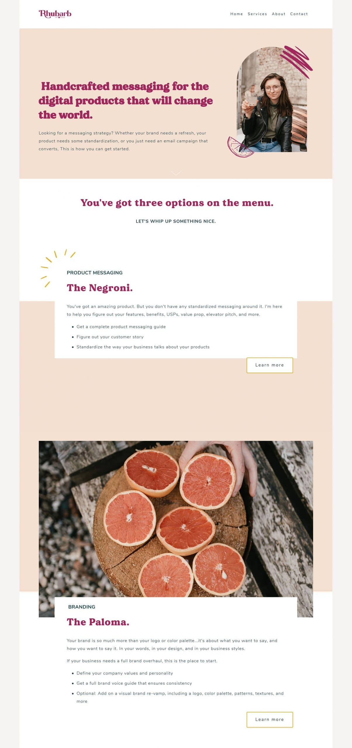 Rhubarb Copy Services Page Squarespace Design